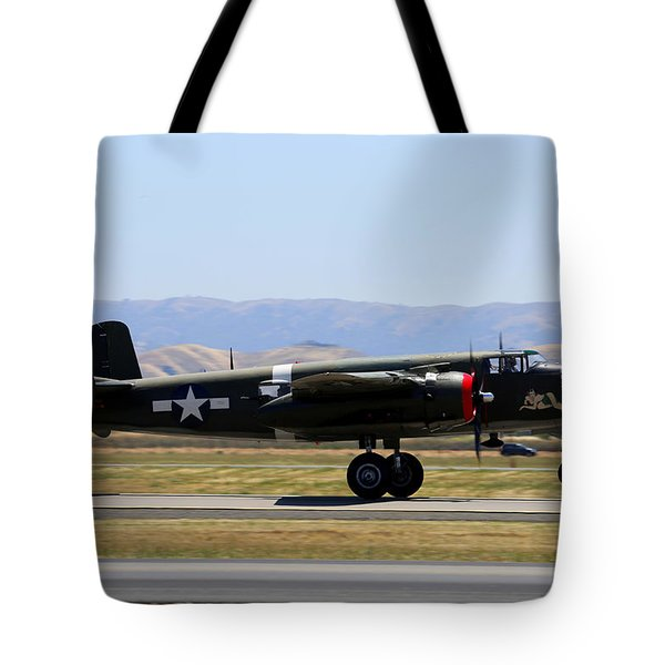Tote Bag featuring the photograph B25 Mitchell Rotating At Klvk Livermore by John King