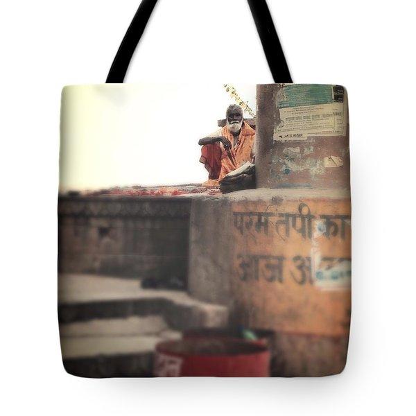 Baba At The Ghats Tote Bag