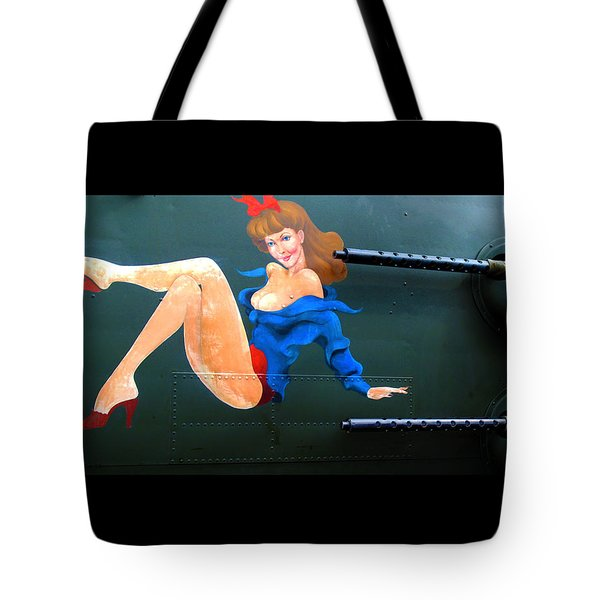 Babe On Wwii Bomber The Show Me Tote Bag by Kathy Barney