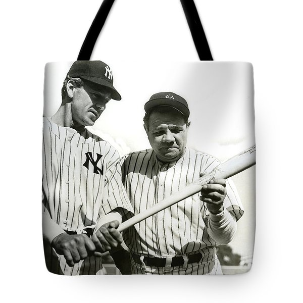 Babe Ruth And Lou Gehrig Tote Bag by Jon Neidert