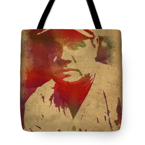 Babe Ruth Baseball Player New York Yankees Vintage Watercolor Portrait On Worn Canvas Tote Bag by Design Turnpike