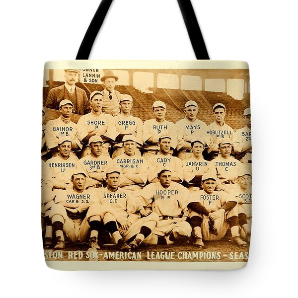 Tote Bag featuring the photograph Babe Ruth Boston Red Sox American League Champions Season 1915 by Peter Gumaer Ogden