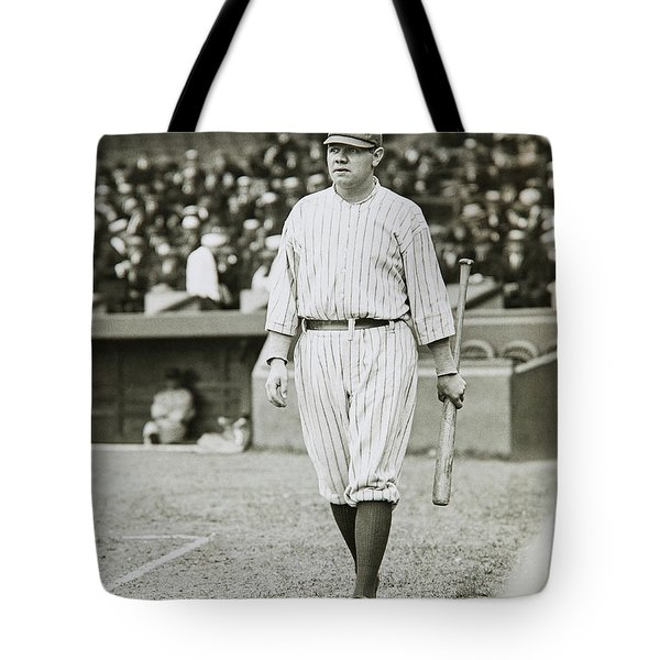 Babe Ruth Going To Bat Tote Bag