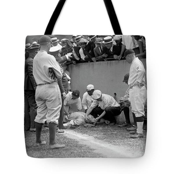 Babe Ruth Knocked Out By A Wild Pitch Tote Bag