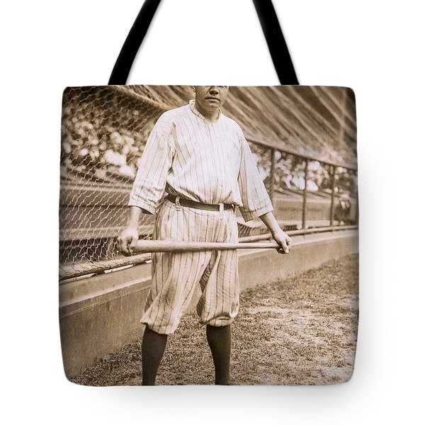 Babe Ruth On Deck Tote Bag by Jon Neidert