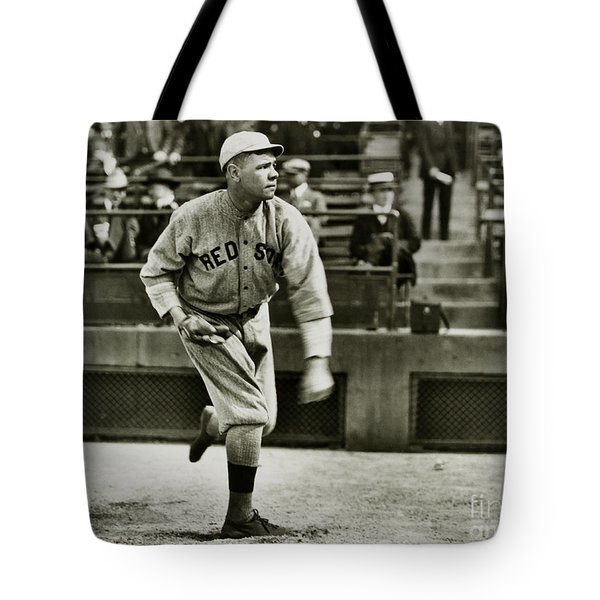 Babe Ruth Pitching Tote Bag