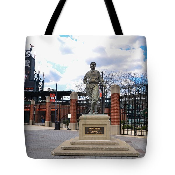 Tote Bag featuring the photograph Babes Dream - Camden Yards Baltimore by Bill Cannon