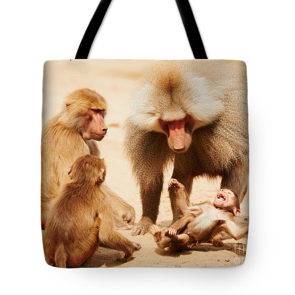 Baboon Family Having Fun In The Desert Tote Bag