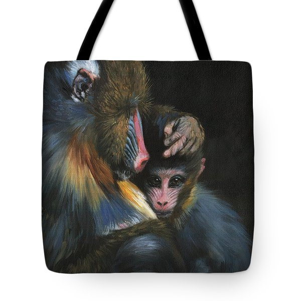 Tote Bag featuring the painting Baboon Mother And Baby by David Stribbling