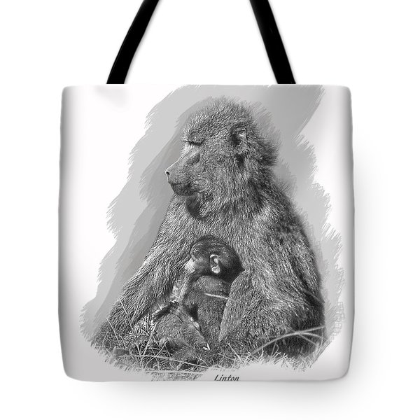 Baboon Mother And Young Tote Bag