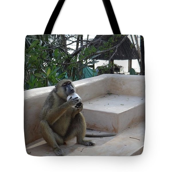 Baboon With A Sweet Tooth Tote Bag by Exploramum Exploramum