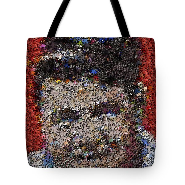 Tote Bag featuring the mixed media Babr Ruth Puzzle Piece Mosaic by Paul Van Scott