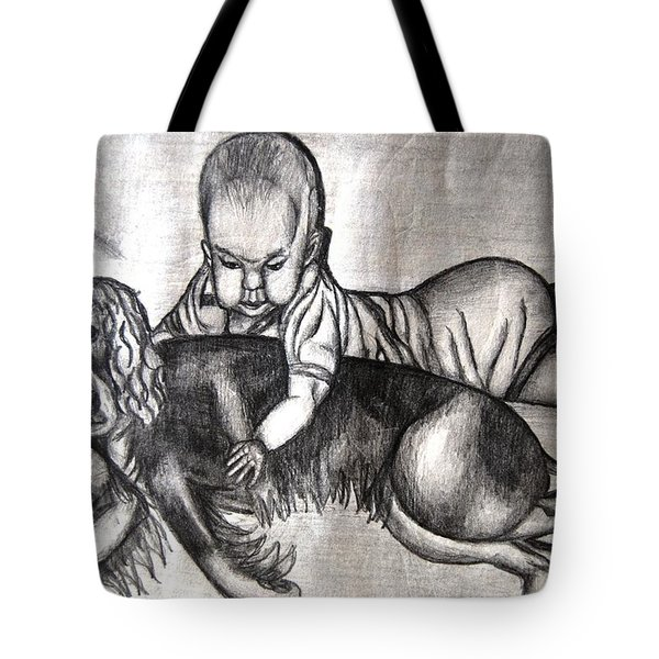 Baby And Dog Tote Bag by Angela Murray