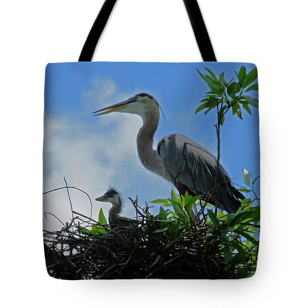 Baby And Mom Great Blue Heron Tote Bag by Judy Wanamaker