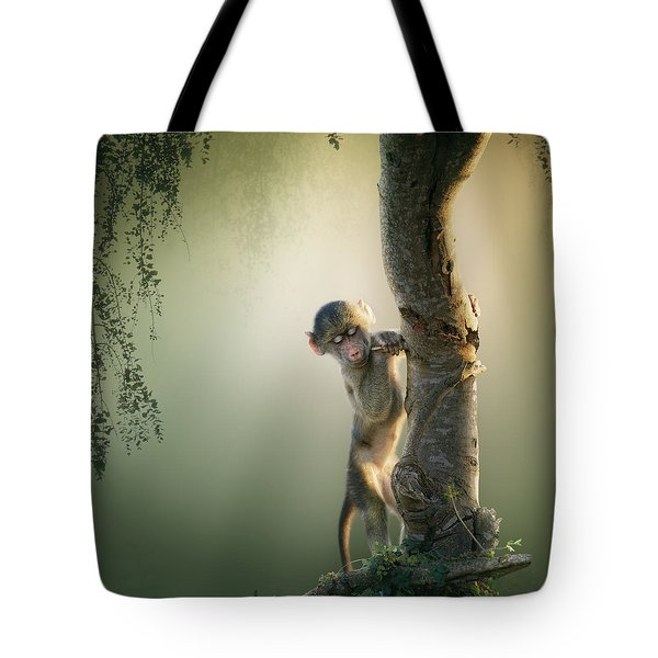 Baby Baboon In Tree Tote Bag