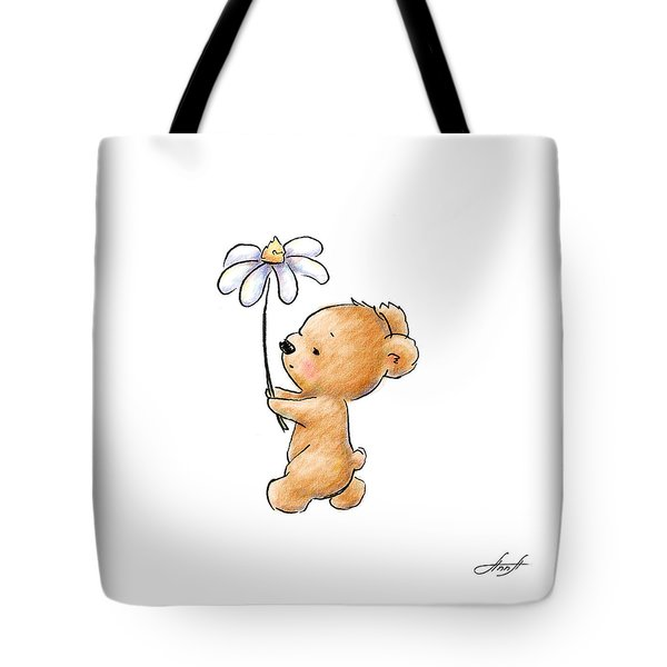 Baby Bear With Flower Tote Bag