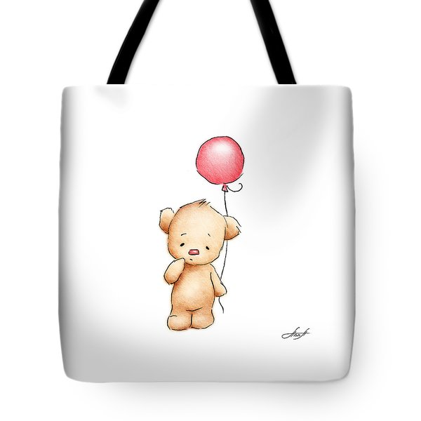 Teddy Bear With Red Balloon Tote Bag