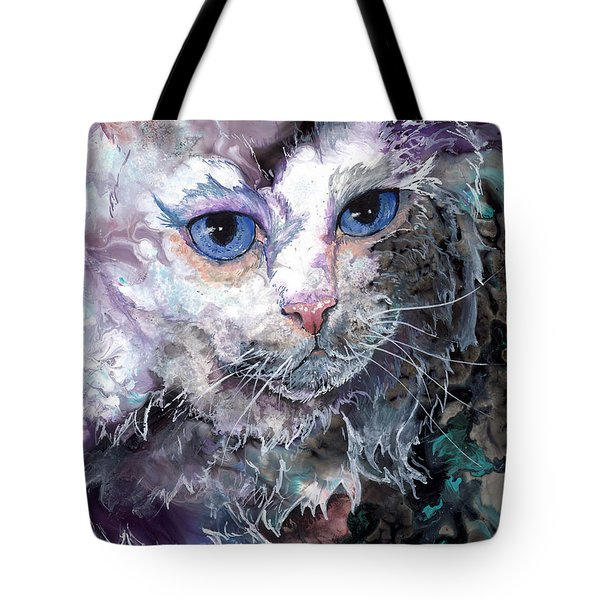 Tote Bag featuring the painting Baby Blues by Sherry Shipley
