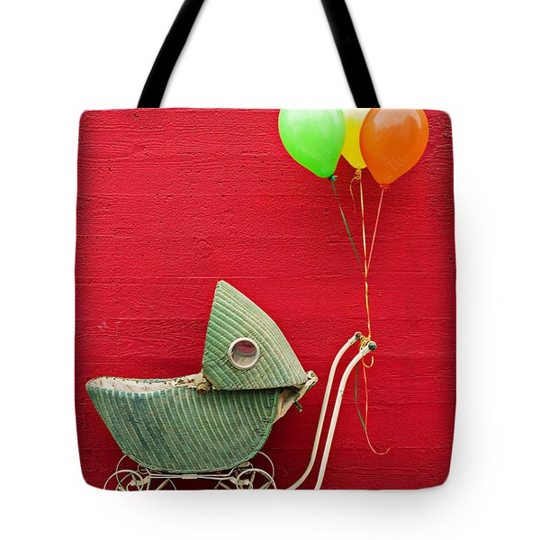 Baby Buggy With Red Wall Tote Bag