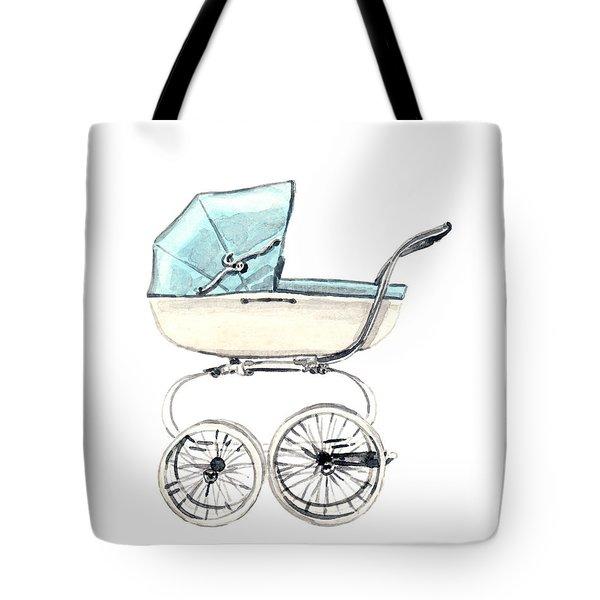 Baby Carriage In Blue - Vintage Pram English Tote Bag