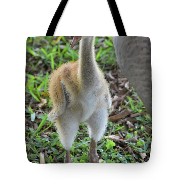 Baby Crane At A Month Old Tote Bag