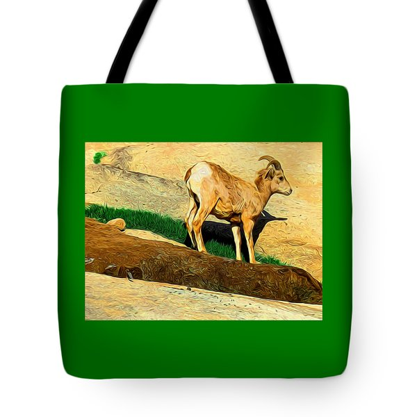 Baby Desert Bighorn In Abstract Tote Bag