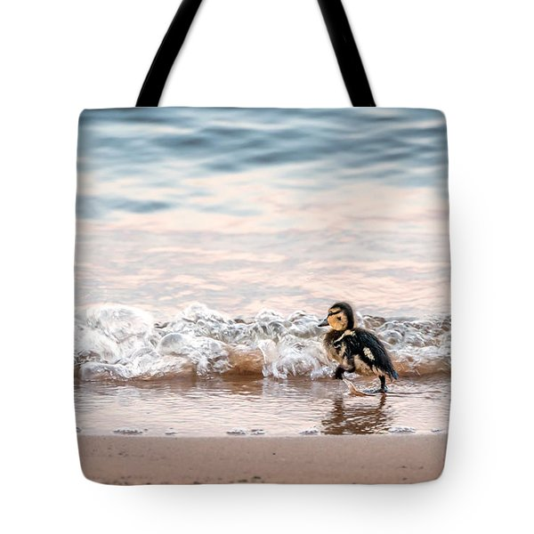 Baby Duck Running On A Beach Into The Waves Tote Bag