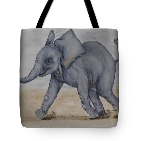 Baby Elephant Run Tote Bag by Kelly Mills