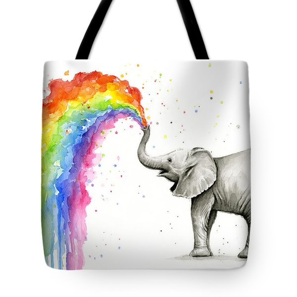 Baby Elephant Spraying Rainbow Tote Bag by Olga Shvartsur