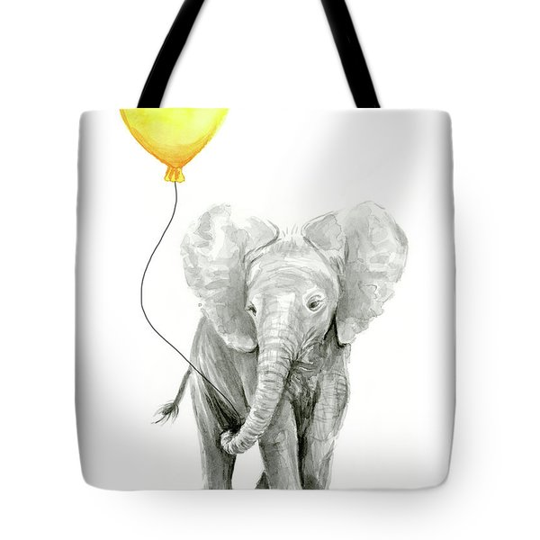 Baby Elephant Watercolor With Yellow Balloon Tote Bag