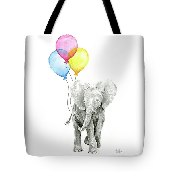 Baby Elephant With Baloons Tote Bag