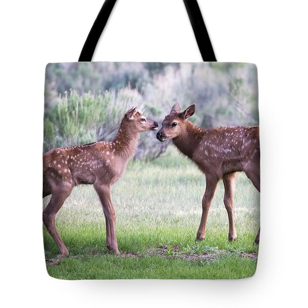 Tote Bag featuring the photograph Baby Elk by Wesley Aston