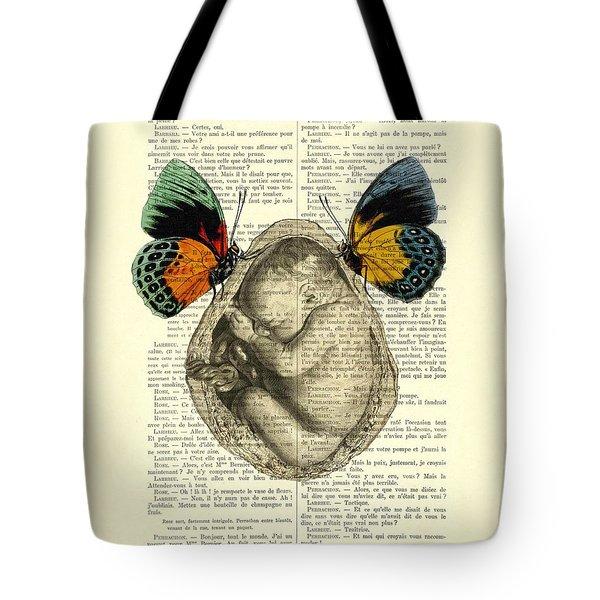 Baby Foetus And Butterflies Tote Bag