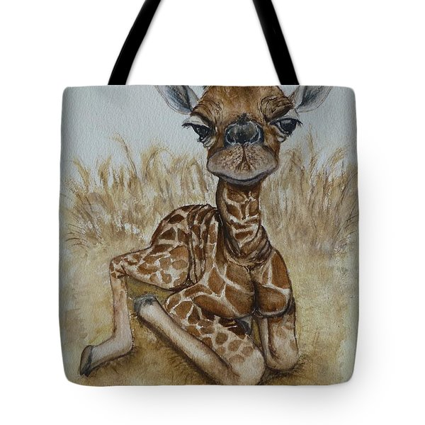 New Born Baby Giraffe Tote Bag by Kelly Mills