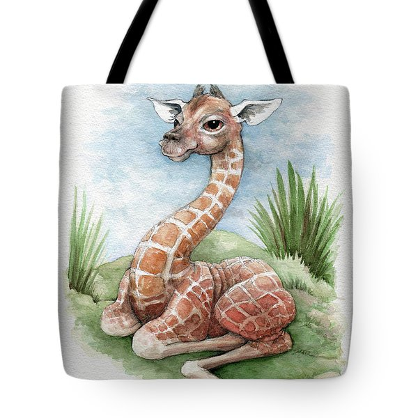 Tote Bag featuring the painting Baby Giraffe by Lora Serra