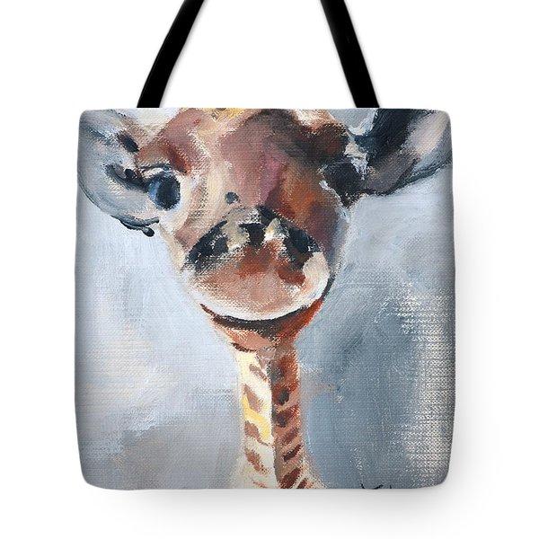 Baby Giraffe Safari Animal Painting Tote Bag