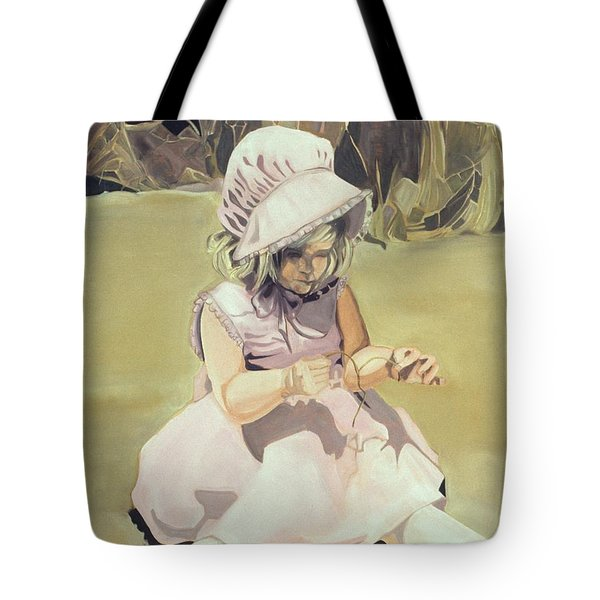 Baby Girl Discovering Tote Bag