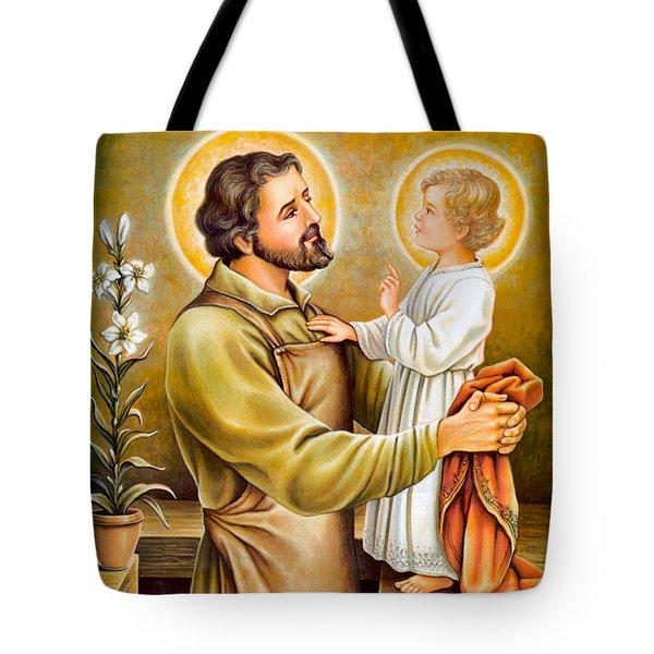 Baby Jesus Talking To Joseph Tote Bag by Munir Alawi