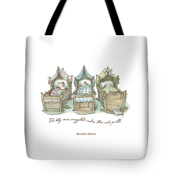 The Brambly Hedge Baby Mice Snuggle In Their Cots Tote Bag