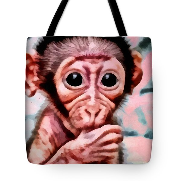 Baby Monkey Realistic Tote Bag