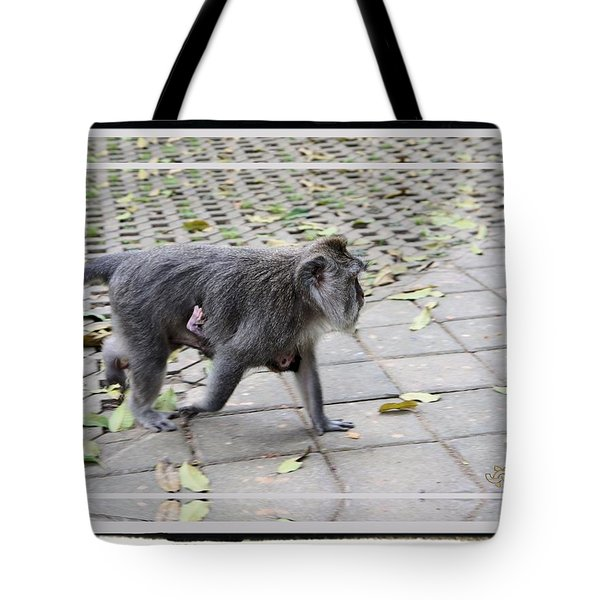 Baby Monkey With Mama Walking Tote Bag