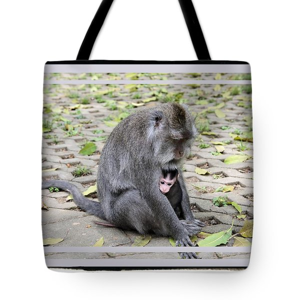 Baby Monkey With Mom Tote Bag