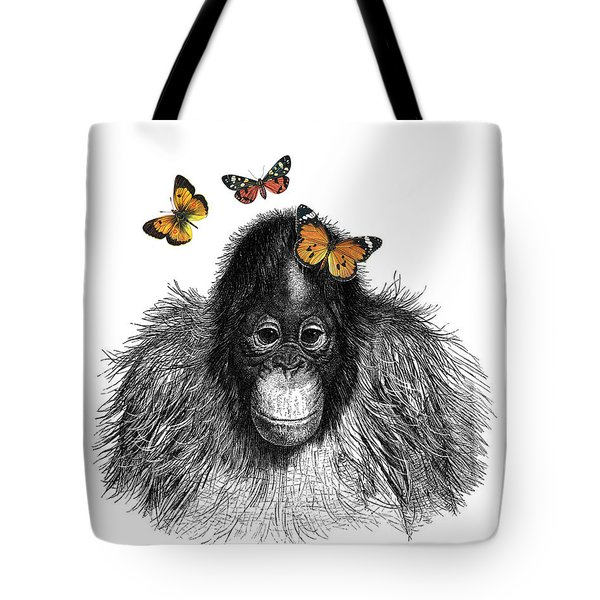 Baby Monkey With Orange Butterflies Tote Bag