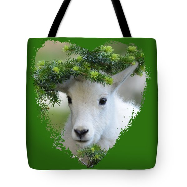 Baby Mountain Goat Heart Tote Bag