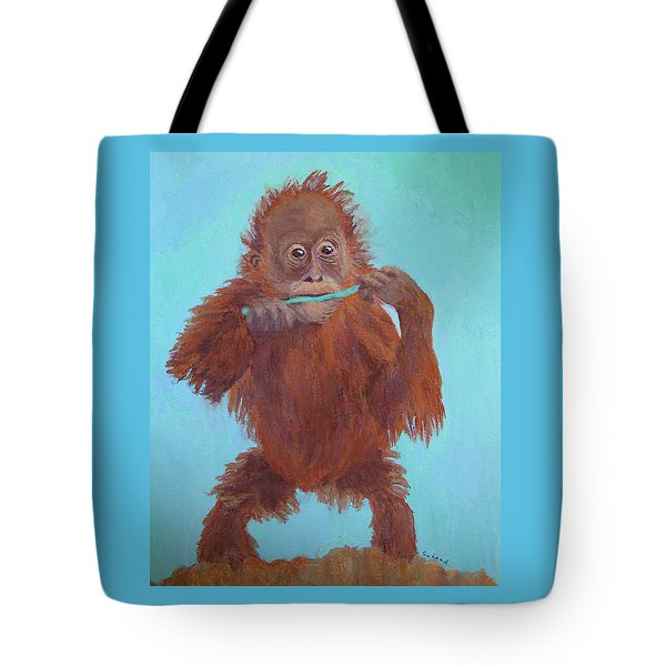 Baby Orangutan Playing Tote Bag