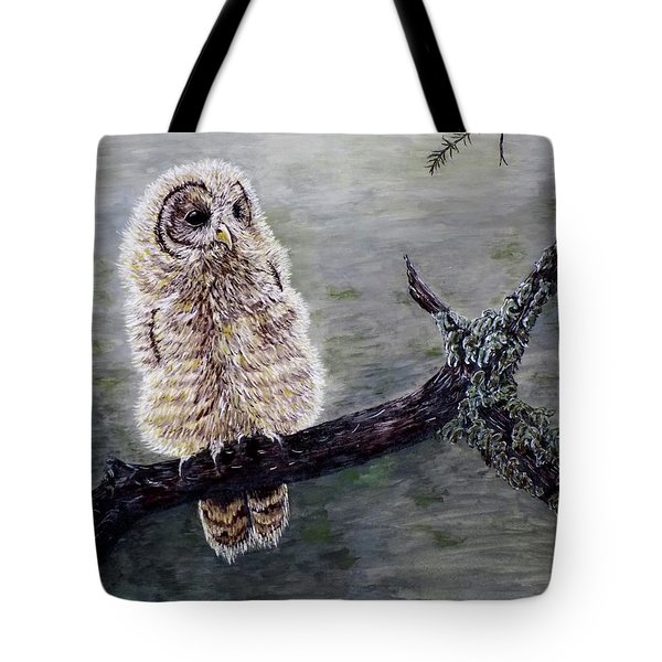 Tote Bag featuring the painting Baby Owl by Judy Kirouac