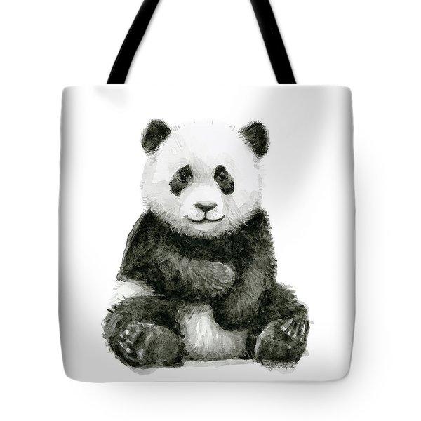 Baby Panda Watercolor Tote Bag