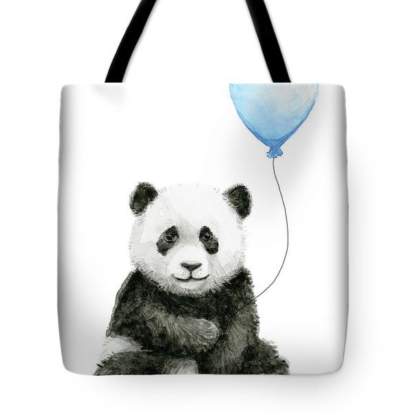 Baby Panda With Blue Balloon Watercolor Tote Bag