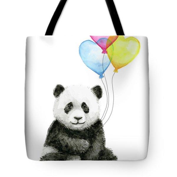 Baby Panda With Heart-shaped Balloons Tote Bag