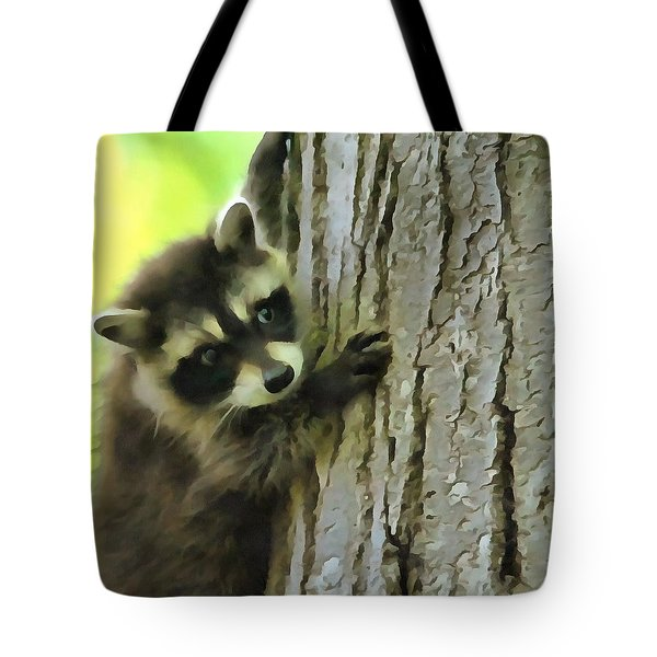 Baby Raccoon In A Tree Tote Bag by Dan Sproul